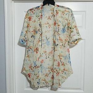 Floral Half Sleeve Chiffon Short Cardigan